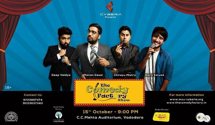 Performing at MSU's Cyberia 2017 on 15th Oct at C C Mehta Auditorium.  . For tickets call on 9723867474 or 9033637343 also Avail group discounts on purchase of 4 or more tickets. . - With Manan Desai, Chirayu Mistry & Aariz Saiyed
