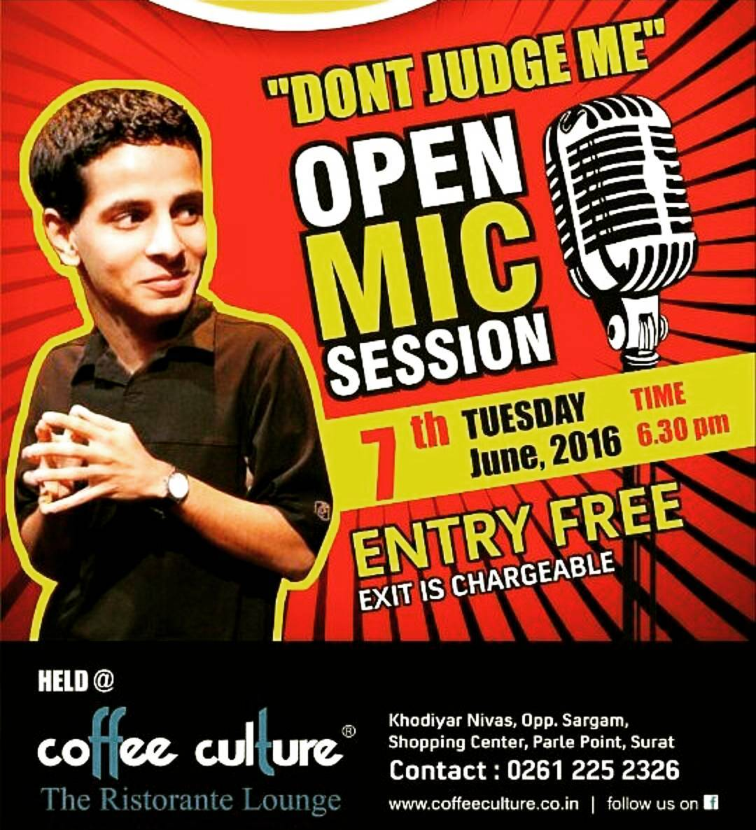 The Open Mic tour will end today in Surat... After a huge Laughter Riot in Vadodara & Ahmedabad @thecomedyfactoryindia brings a FREE for audience open mic show... Host for the evening is the Legendary @ojasrawal ... I am performing with @chirayu_m @instafunny_manan @tathaagat ... #standup #comedy #nautanki #thecomedyfactory #tcf #openmic #coffeeculture #surat #ahmedabad #vadodara