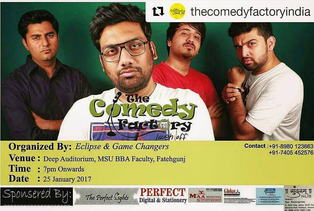 @thecomedyfactoryindia team is performing tonight at BBA Baazigar. Call on the number mentioned on the poster for tickets and other details.