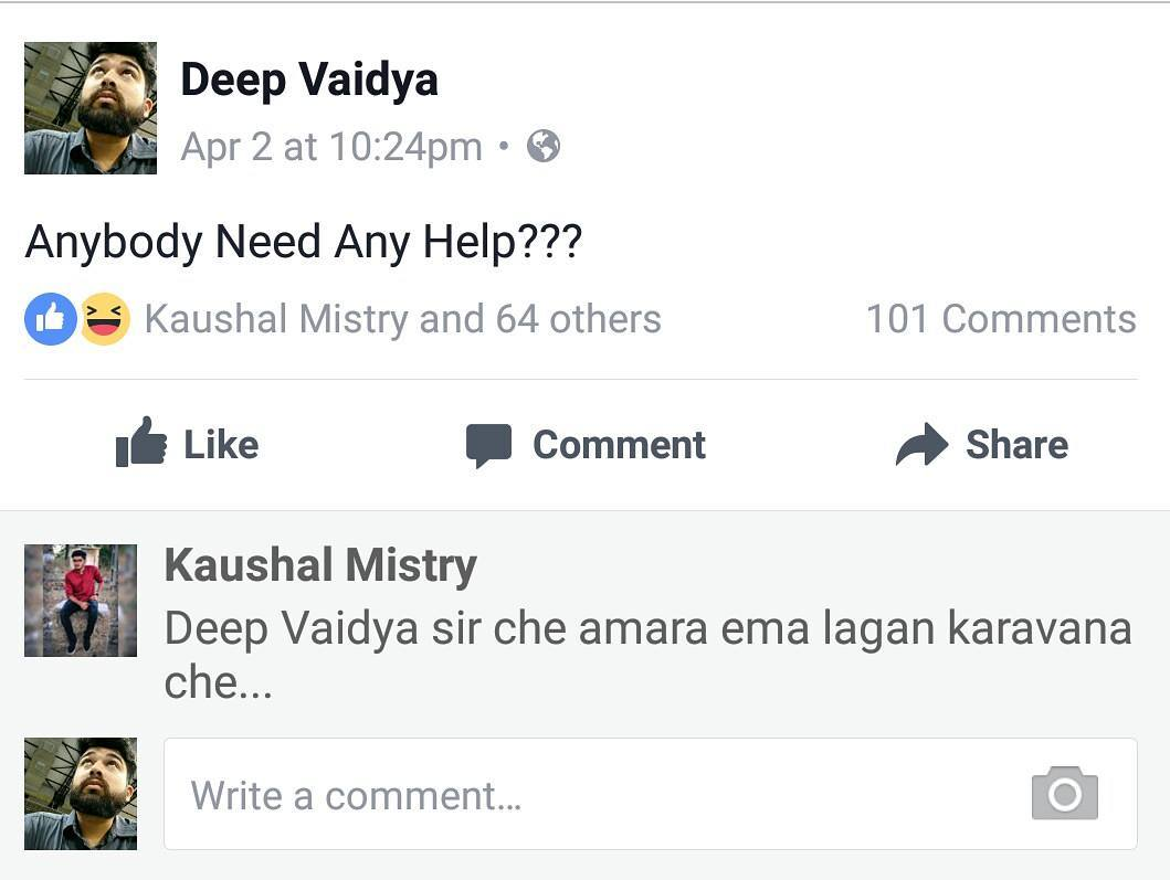 Deep Vaidya,  nautanki, Facebook, status, likes, comments, help, needhelp