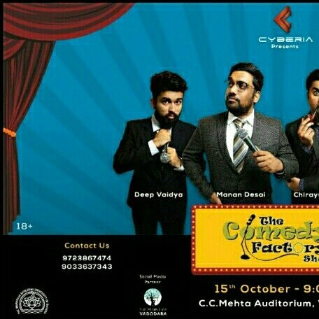 @thecomedyfactoryindia is performing for MSU's @cyberia2017 . 15th Oct, 9 PM onwards at C.C. Mehta Auditorium . For tickets call on 9723867474 or 9033637343  #nautanki #thecomedyfactory #tcf #vadodara #msu #msuniversity #standup #comedy #comedian #gujju #baroda