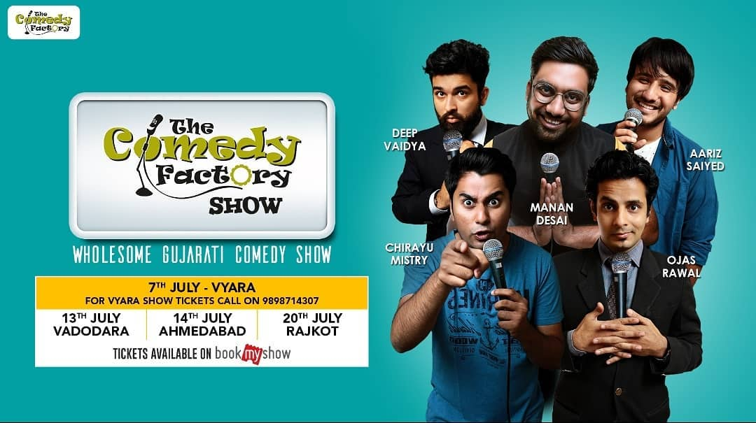 @thecomedyfactoryindia's Wholesome Gujarati Comedy Show. A show with Stand Up Comedy, Improv Comedy & Musical Comedy.  To get the tickets for Vyara show call on +91-9898714307  And tickets for Ahmedabad, Vadodara & Rajkot show is available on BookMyShow.