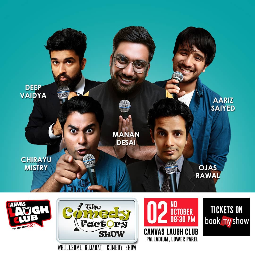 Mumbai!!! Watch the whole @thecomedyfactoryindia team perform together the wholesome Gujarati show at @canvaslaughclub . It's the finale show and should not be missed. Tickets up on @bookmyshowin . . . #tcf #tcfindia #thecomedyfactory #mumbai #standup #comedy #standupcomedy #comedian #gujju #gujarat #gujarati #ahmedabad #vadodara  #surat  #rajkot